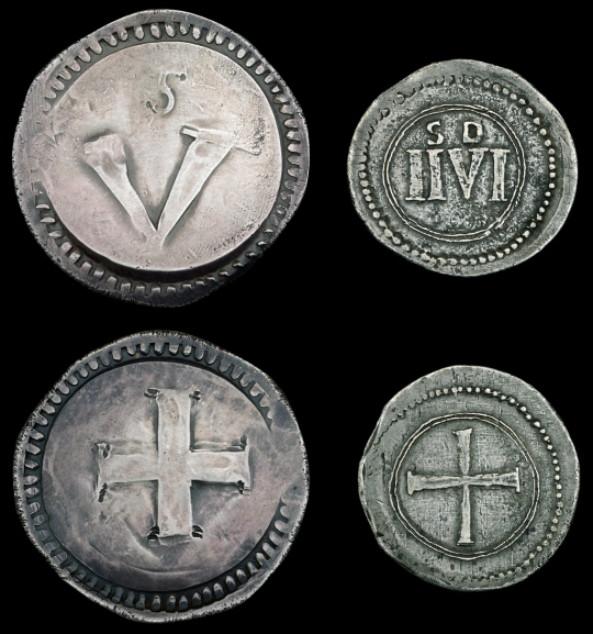 silver copies of the Rebel Money Crown and Halfcrown [2]. Very fine