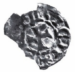 Silver farthing, minted by John de Courcy in Downpatrick,1185-1205