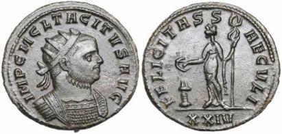 Tacitus AE Antoninianus. Siscia. IMP CM CL TACITVS AVG, radiate, cuirassed bust right / FELICITAS SAECVLI, Felicitas, standing left by altar, holding patera and caduceus. Mintmark XXIV. Estiot 2267, La Venera 1759