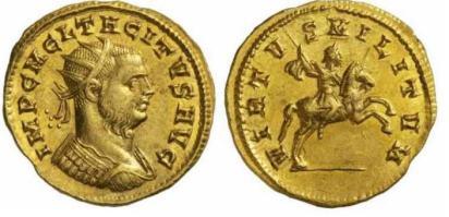 Tacitus, AV Aureus, Siscia. 275-276 AD. IMP C M C L TACITVS AVG, radiate, cuirassed bust right / VIRTVS MILITVM, Tacitus on horseback right, holding spear. RIC 179v (bust type), Estiot 111