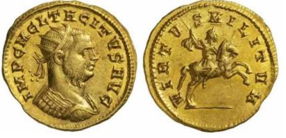 Tacitus, AV Aureus, Siscia. 275-276 AD. IMP C M C L TACITVS AVG, radiate, cuirassed bust right / VIRTVS MILITVM, Tacitus on horseback right, holding spear. RIC 179v (bust type), Estiot 111