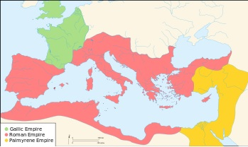 The Roman Empire by 271 A.D before the reconquest of the Palmyrene Empire and the Gallic Empire by Aurelian