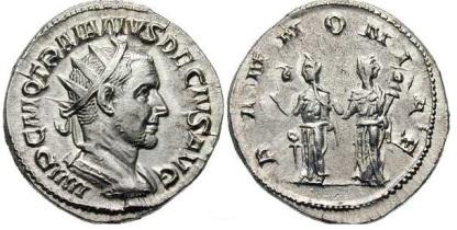 Trajan Decius AR Antoninianus. IMP C M Q TRAIANVS DECIVS AVG, radiate, draped & cuirassed bust right /PANNONIAE, the two Pannoniae standing front holding standards. RIC 21b, RSC 86