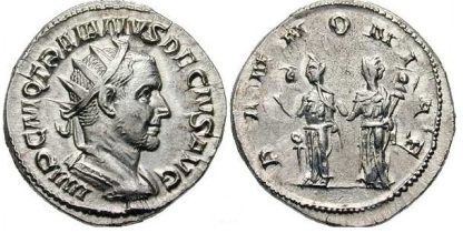 Trajan Decius AR Antoninianus. IMP C M Q TRAIANVS DECIVS AVG, radiate, draped & cuirassed bust right /PANNONIAE, the two Pannoniae standing front holding standards. RIC 21b, RSC 86