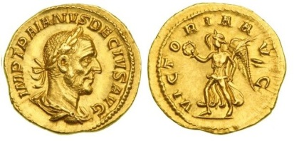Trajan Decius AV Aureus. 249 AD. IMP TRAIANVS DECIVS AVG, laureate, draped & cuirassed bust right / VICTORIA AVG, Victory advancing left bearing wreath & palm. Calico 3301, Cohen 108