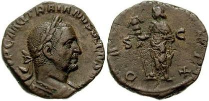 Trajan Decius Æ Sestertius. Struck 249-250 AD. IMP C M Q TRAIANVS DECIVS AVG, laureate and cuirassed bust right, seen from behind / DACIA FELIX S-C, Dacia standing left, holding ensign. Cohen 35