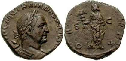 Trajan Decius Æ Sestertius. Struck 249-250 AD. IMP C M Q TRAIANVS DECIVS AVG, laureate and cuirassed bust right, seen from behind / DACIA FELIX S-C, Dacia standing left, holding ensign. Cohen 35