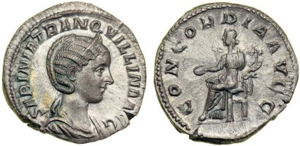 Tranquillina, wife of Gordian III, Augusta, AD 241-244. Silver Denarius minted at Rome. SABINIA TRANQ-VILLINA AVG. Diademed and draped bust of Tranquillina right. Reverse: CONCORDIA AVGG. Concordia (Concord) enthroned left, holding patera and double cornucopiae. RIC 252 (R4); RSC 1a