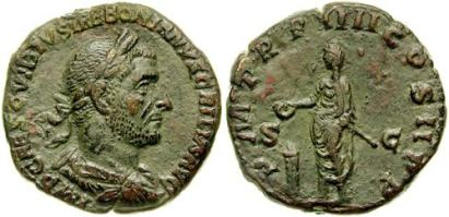Trebonianus Gallus AE Sestertius. Struck 253 AD. IMP CAES C VIBIVS TREBONIANVS GALLVS AVG, laureate, draped & cuirassed bust right / P M TR P IIII COS II P P, emperor standing left, sacrificing over lighted tripod altar and holding short sceptre. Cohen 96; Sear