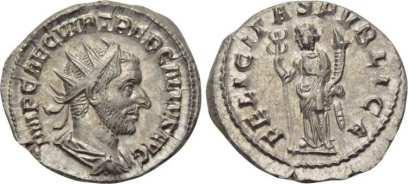 Trebonianus Gallus AR Antoninianus. IMP CAE C VIB TREB GALLVS AVG, radiate, draped bust right / FELICITAS PVBLICA, Felicity standing left with caduceus and cornucopiae. RIC 33; RSC 37; Sear 9629