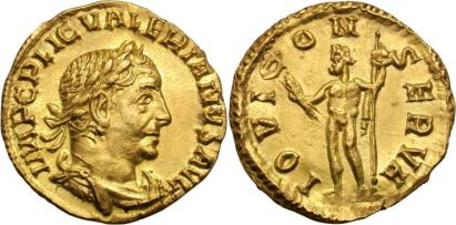 Valerian I. 253-260 AD. AV Aureus, 2.72g. Rome. IMP C P LIC VALERIANVS AVG, laureate, draped, cuirassed bust right / IOVI CONSERVA, Jupiter standing left holding thunderbolt and sceptre. Goebl 25a; RIC 37; Cohen 82; Calico 3418