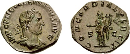 Valerian I AE Sestertius. Rome mint, 253-254 AD. IMP C P LIC VALERIANVS AVG, laureate, draped, & cuirassed bust right, slight drapery on left shoulder / CONCORDIA EXERCIT, S C across field, Concordia standing left, holding patera in extended right hand & cradling double cornucopiae in left arm. Cohen 40v