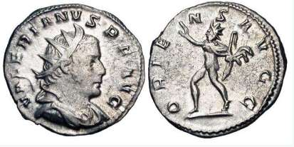 Valerian I AR Antoninianus. Lyons mint. VALERIANVS P F AVG, radiate, draped, and cuirassed bust right / ORIENS AVGG, Sol walking left, holding whip and raising right hand. RSC 143a; Sear 9950