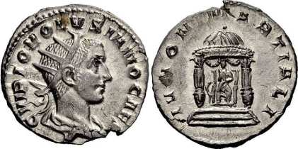 Volusianus, AR Antoninianus. AD 251. C VIBIO VOLVSIANO CAES, radiate, draped bust right / IVNO MARTIALI, Juno seated facing within round distyle temple, peacock at her side. RIC 131; RSC 47