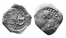 1647 Bandon farthing - Obverse BB in circle, Reverse 3 castles, 1 above 2 in circle