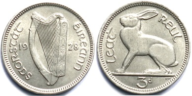 1928 Ireland threepence obv + rev