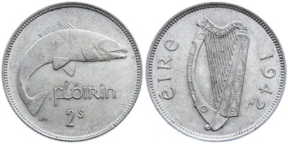 Ireland 1939-43 Florins were 75% silver, whereas later issues (1951-68) were cupro-nickel.