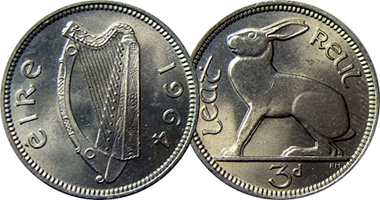 1964 Irish threepence