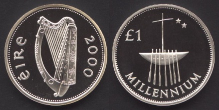 2000 Ireland £1 Millennium proof
