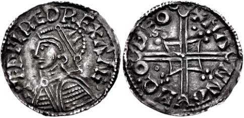 This is typical of the coin that the Dublin Vikings were imitating. i.e. an Aethelred II, Type 6 - Helmet type penny. This example was struck by Manna (moneyer) of Thetford