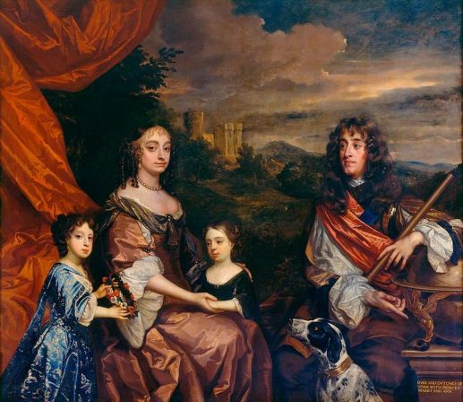 Anne (centre) and her sister Mary (left) with their parents, the Duke and Duchess of York, painted by Sir Peter Lely and Benedetto Gennari II