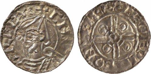 Cnut (1016-1035) , penny, helmet type, Leicester, Leofwine, helmeted bust l