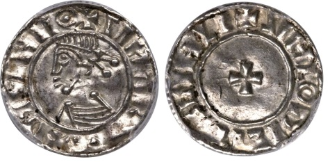 Hiberno-Norse. Phase I (c.995-1020) Penny in the name of Sihtric Anlafsson c.1010-16, Dublin mint, S-6117, DF-18, MS63 PCGS. + SIHTRY REX DYFLNIIΘ, bust left / + SIHLΘDIL MII GIHLI, short cross. An imitation of Æthelred's last small cross coinage, this example is exceptional in its strike and surfaces. The legends, although difficult, are legible and the portrait is excellent. The flan is of good metal without cracks or flaws, exhibits upturned rims + one small peckmark on the reverse. Rare.