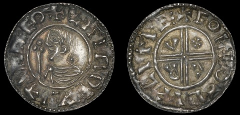 Hiberno-Norse, Phase I, Class A Penny in imitation of CRVX type of Æthelred II, zitir d+yflim reo, bust left with sceptre, rev. short cross, c r v x in angles, eole o–dyflime, 1.29g/8h (SCBI BM 12, same dies; S 6100; DF 1). About extremely fine with old cabinet tone, very rare