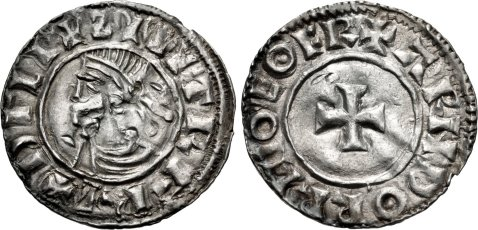 Hiberno-Norse. Sihtric III Olafsson. 995-1036. AR Penny (19mm, 1.11 g, 6h). Phase I coinage, Short Cross type. Eoferwic (York) mint signature; 'Arnthorr,' moneyer. Struck circa 1010-1016. + ZIIITR F RE+ DΓLI, diademed and draped bust left / + ARNDORR M-O EOFR, short cross pattée. O'S –; SCBI –; D&F 19; SCBC 6118. VF, peck marks. Rare – unlisted 'moneyer' for type