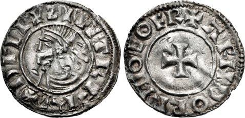 Hiberno-Norse. Sihtric III Olafsson. 995-1036. AR Penny (19mm, 1.11 g, 6h). Phase I coinage, Short Cross type. Eoferwic (York) mint signature; 'Arnthorr,' moneyer. Struck circa 1010-1016. + ZIIITR F RE+ DΓLI, diademed and draped bust left / + ARNDORR M-O EOFR, short cross pattée. O'S –; SCBI –; D&F 19; SCBC 6118. VF, peck marks. Rare – unlisted 'moneyer' for type