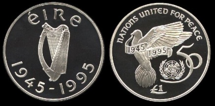 Ireland 1945-95 United Nations (silver) Proof £1
