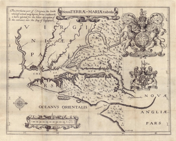 1635 Map of Nova Terrae-Mariae tabula, Jerome Hawley and John Lewger (Huntingfield Collection, Maryland State Archives. MSA SC 1399-1-526).jpg