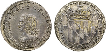 1659 Maryland, Lord Baltimore's Groat (Fourpence), Large Bust