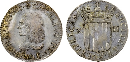 1659 Maryland, Lord Baltimore's Shilling, Large Bust (1)