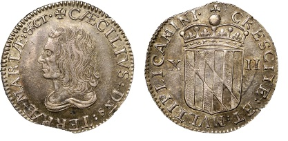 1659 Maryland, Lord Baltimore's Shilling, Large Bust (2)