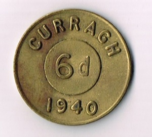 Ireland, Eire, 1940 Curragh Prisoner of War Camp 6d Token