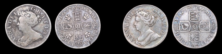 The Act of Union of 1707 resulted in a change in the Royal Arms, altering the design of the coinage