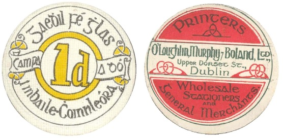 Ballykinlar Camp, One Penny. Circular cardboard token (Camp No. 2)