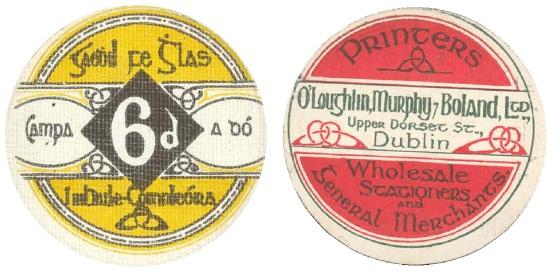 Ballykinlar Camp, Sixpence. Circular cardboard token (Camp No. 2)