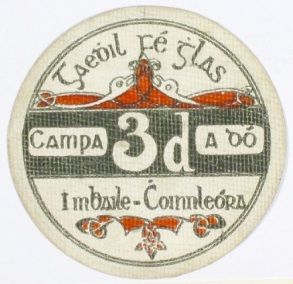 Ballykinlar Camp, Threepence. Circular cardboard token (Camp No. 2)