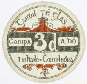 Ballykinlar Camp, Threepence. Circular cardboard token (Camp No. 2)