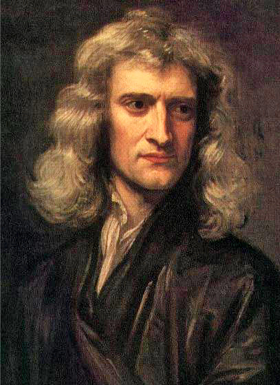 Isaac Newton: Portrait of man in black with shoulder-length, wavy brown hair, a large sharp nose, and a distracted gaze (Godfrey Kneller, 1689)