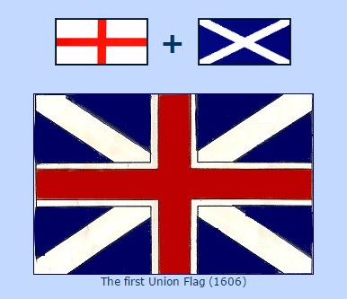 On 12 April 1606, the National Flags of Scotland and England were united for use at sea, thus making the first Union 'Jack'. Ashore however, the old flags of England and Scotland continued to be used by their respective countries.