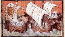 A medieval depiction of an army sailing to Waterford city (from Jean Creton, Histoire rimée de Richard II)