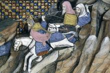 Art Mór Mac Murchadha Caomhánach riding to meet the earl of Gloucester, as depicted in an illustration to Jean Creton's Histoire du roy d'Angleterre Richard II