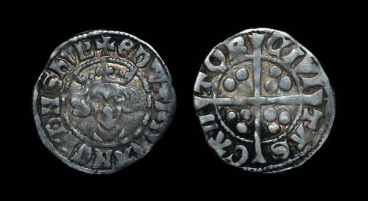 EDWARD I - LONG CROSS PENNY - CANTERBURY 1301-1307 AD. Class 10ab. Obv: facing bust with +EDWARD R ANGL DNS HYB legend. Rev: long cross with CIVI TAS CAN TOR legend for the Canterbury mint. 1.40 grams