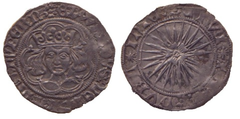 Edward IV 1467 Irish double groat, sun & roses coinage, Dublin mint