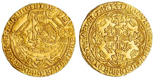 Henry VI, first reign - Pinecone-mascle Issue Noble, London Mint 1430-1434