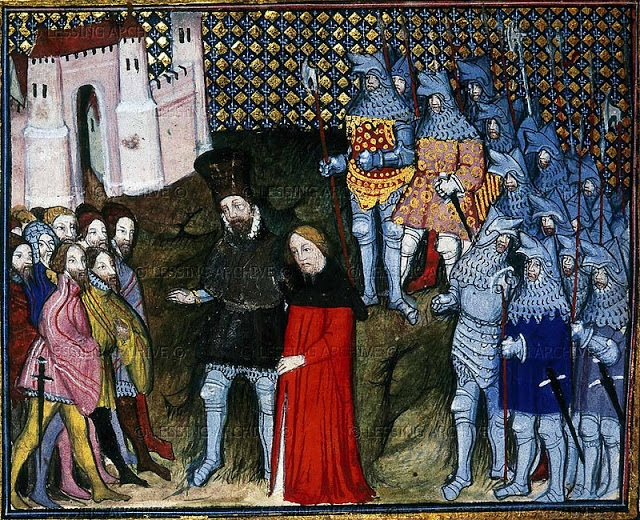 Richard II renounces his throne (1399) - London-British Library-Harley Ms 1319, f. 53v from Jean Creton; Histoire du roy d'Angleterre