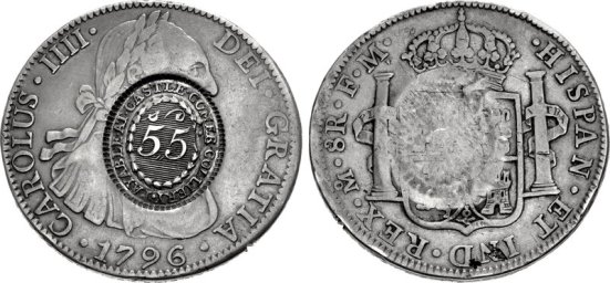 1796 Castlecomer Colliery token (over-struck on a Spanish Colonial silver 8 reales 'donor' coin)